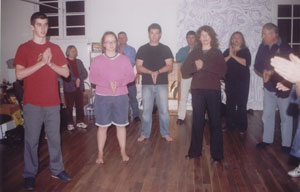 a group of qi gong practitioners